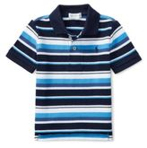 Ralph Lauren Striped Cotton Mesh Polo Shirt French Navy Multi 9M