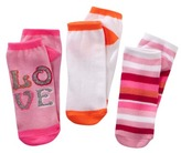 Xhilaration Girls 3-Pack No-Show Love Socks - Brite