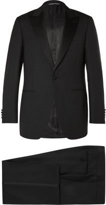 Canali Black Slim-Fit Satin-Trimmed Wool Tuxedo