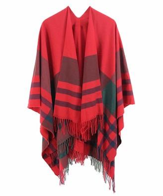 CARCOS Women's Tartan Shawl Wraps Autumn Winter Tassel Blanket Cape Wraps Shawl Long Soft Open Front Cardigans Poncho B-red