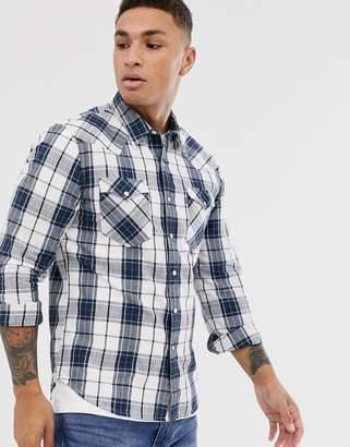 Levi's Barstow double pocket western plaid check shirt-Blue