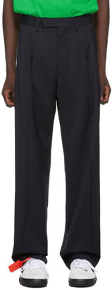 Off-White Navy Wool Classic Trousers
