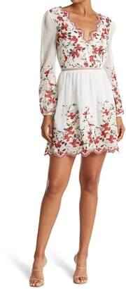 Lucy Paris Dolce Floral Embroidered Long Sleeve Dress