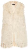 Topshop Tassle Hem Faux Fur Gilet