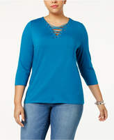 INC International Concepts Anna Sui Loves I.n.c. Plus Size Lace-Up Top, Created for Macy's