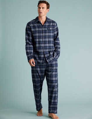 Marks and Spencer Longer Length Brushed Cotton Pyjama Set