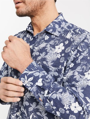 J.Mclaughlin Gramercy Classic Fit Linen Shirt in Floral