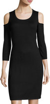 Neiman Marcus Cold-Shoulder Scoop-Neck Sheath Dress, Black