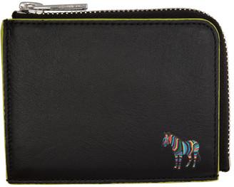 Paul Smith Black and Green Zebra Zip Wallet