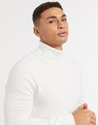 Topman knitted turtleneck jumper in white