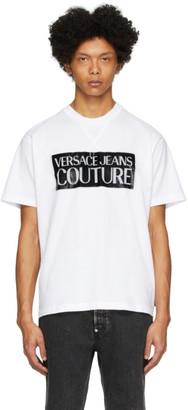 Versace White and Black Pop Box Logo T-Shirt