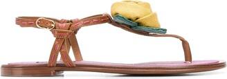 Dolce & Gabbana woven flower T-bar sandals