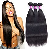 Lulu 7A Brazilian Virgin Straight Hair 3 Bundles Unprocessed Haman Hair Extensions Natural Black Color (10 12 14)
