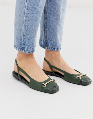 Asos DESIGN Lotus slingback ballet flats in green and snake mix