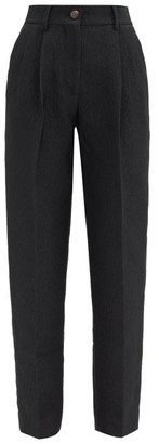 BLAZÉ MILANO Starlight Banker Cloque Tapered-leg Trousers - Black