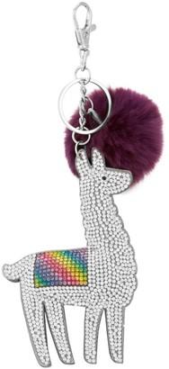Bari Lynn Crystal Llama & Rabbit Fur Pom-Pom Keychain