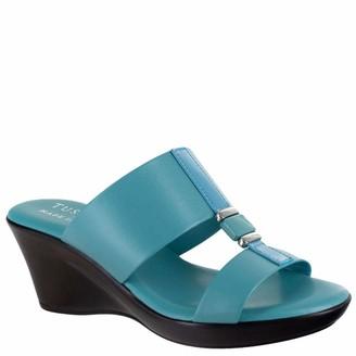 Easy Street Shoes womens Benita Wedge Sandal Navy 8.5 x_wide US