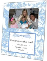 The Well Appointed House Blue Toile Decoupage Personalized Birth Announcement Photo Frame