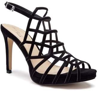 Paradox London Stacia Black High Heel Platform Caged Sandals