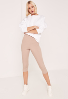 Missguided Pink Ribbed Cropped Leggings