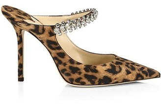 Jimmy Choo Bing Embellished Leopard-Print Leather Mules