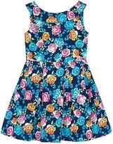 Uttam Girls Floral Print Boat Neck Dress