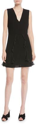 See by Chloe V-Neck Sleeveless A-Line Mini Dress w/ Ruffled Trim