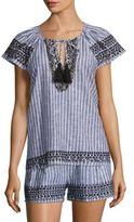 Parker Valerie Embroidered Striped Top