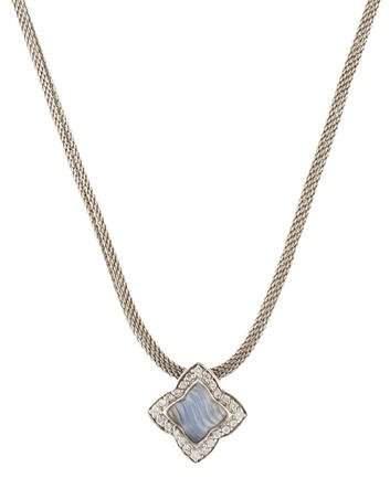 David Yurman 18K Dyed Chalcedony & Diamond Quatrefoil Pendant Necklace