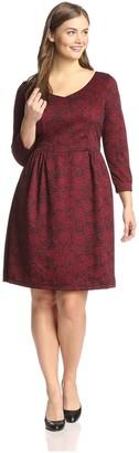 Melissa Masse Plus Women's Floral Pattern V-Neck Dress