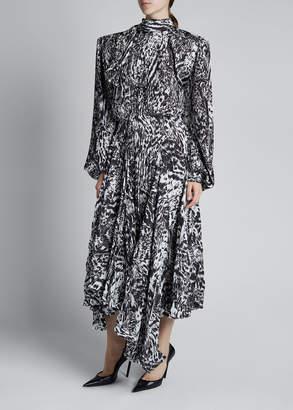 Balenciaga Crepe Long-Sleeve High-Neck Asymmetrical Dress
