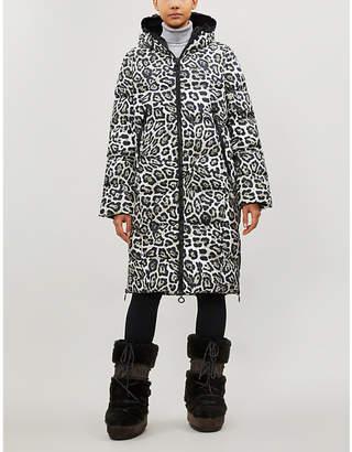 GOLDBERGH Gullfoss leopard-print long-line shell-down parka coat