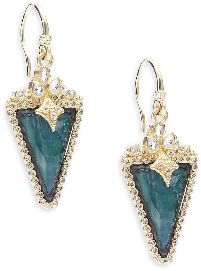 Armenta Women's Old World Diamond, Sapphire, Malachite, Rainbow Moonstone, 18K Yellow Gold & Sterling Silver Earrings