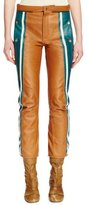 Chloé Cropped Striped Leather Biker Pants, Green/Camel