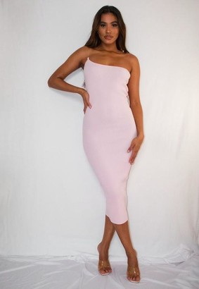 Missguided Pink Transparent Strap One Shoulder Knit Midaxi Dress