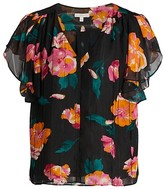 Thumbnail for your product : Joie Magin Floral Ruffle-Sleeve Silk Top