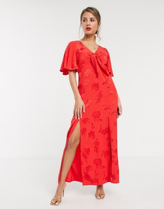 Style Cheat flutter sleeve midaxi dress with double thigh splits in red jacquard floral