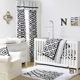 The Peanut Shell Tile Fitted Crib Sheet in Black/White