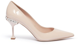 Miu Miu Strass heel patent leather pumps