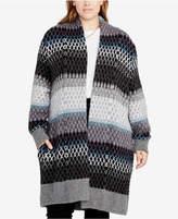 Rachel Roy Trendy Plus Size Striped Oversized Cardigan