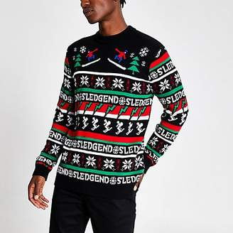 River Island Black 'Sledgend' knitted Christmas jumper
