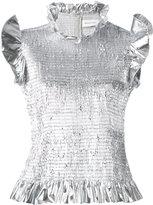 Marques Almeida Marques'almeida - ruffled metallic blouse - women - Polyester - S