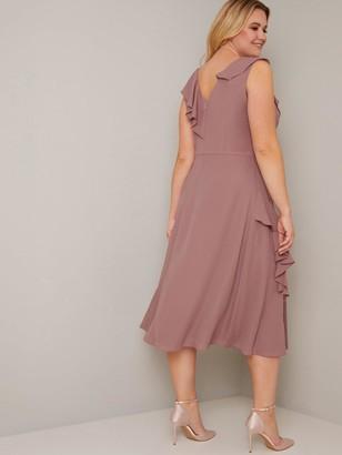 Chi Chi London Curve Kai Ruffle Wrap Style Dress - Mink