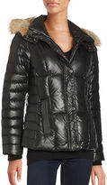 Andrew Marc Coyote Fur Trimmed Short Down Jacket