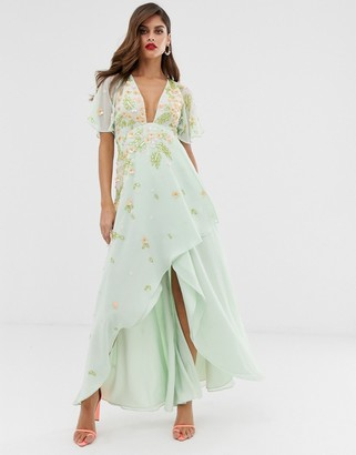 Asos Design DESIGN dipped hem maxi dress with 3D embellishment and ruffle sleeve-Green