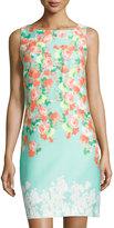 Donna Ricco Sleeveless Floral-Print Sheath Dress, Aquarelle