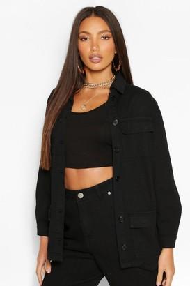 boohoo Tall Denim Twill Pocket Oversized Jacket