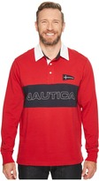 Nautica Big Tall Long Sleeve Logo Rugby Polo Men's Long Sleeve Pullover