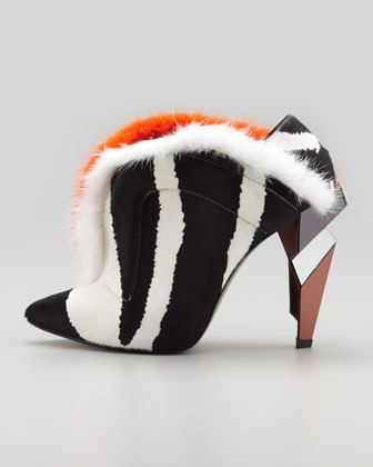Fendi V-Neck Fur Ankle Boot, Zebra