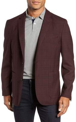Vince Camuto Delaria Burgundy Plaid Two Button Notch Lapel Slim Fit Blazer
